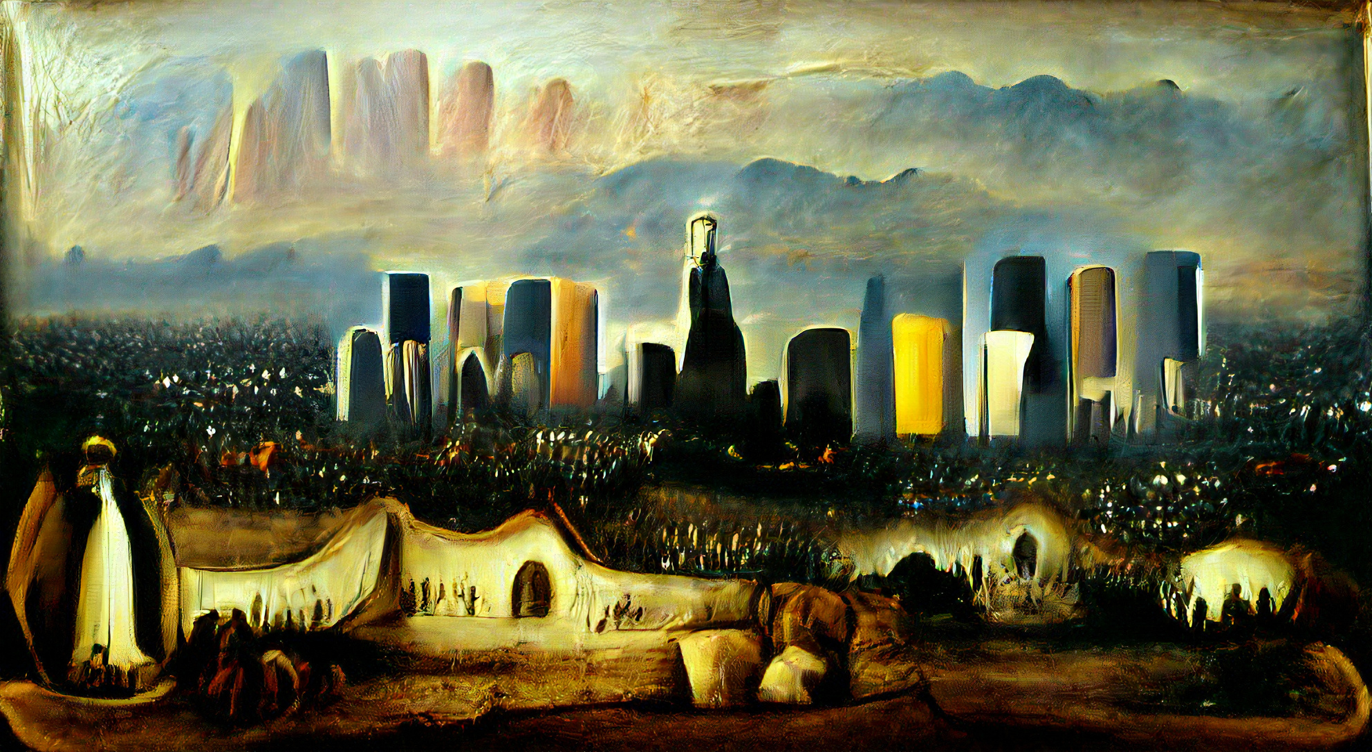 Los Angeles city skyline by Rembrandt