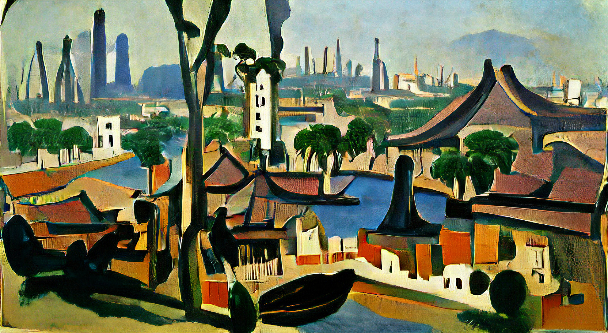 Guangzhou, Guangdong China on a clear afternoon by André Derain