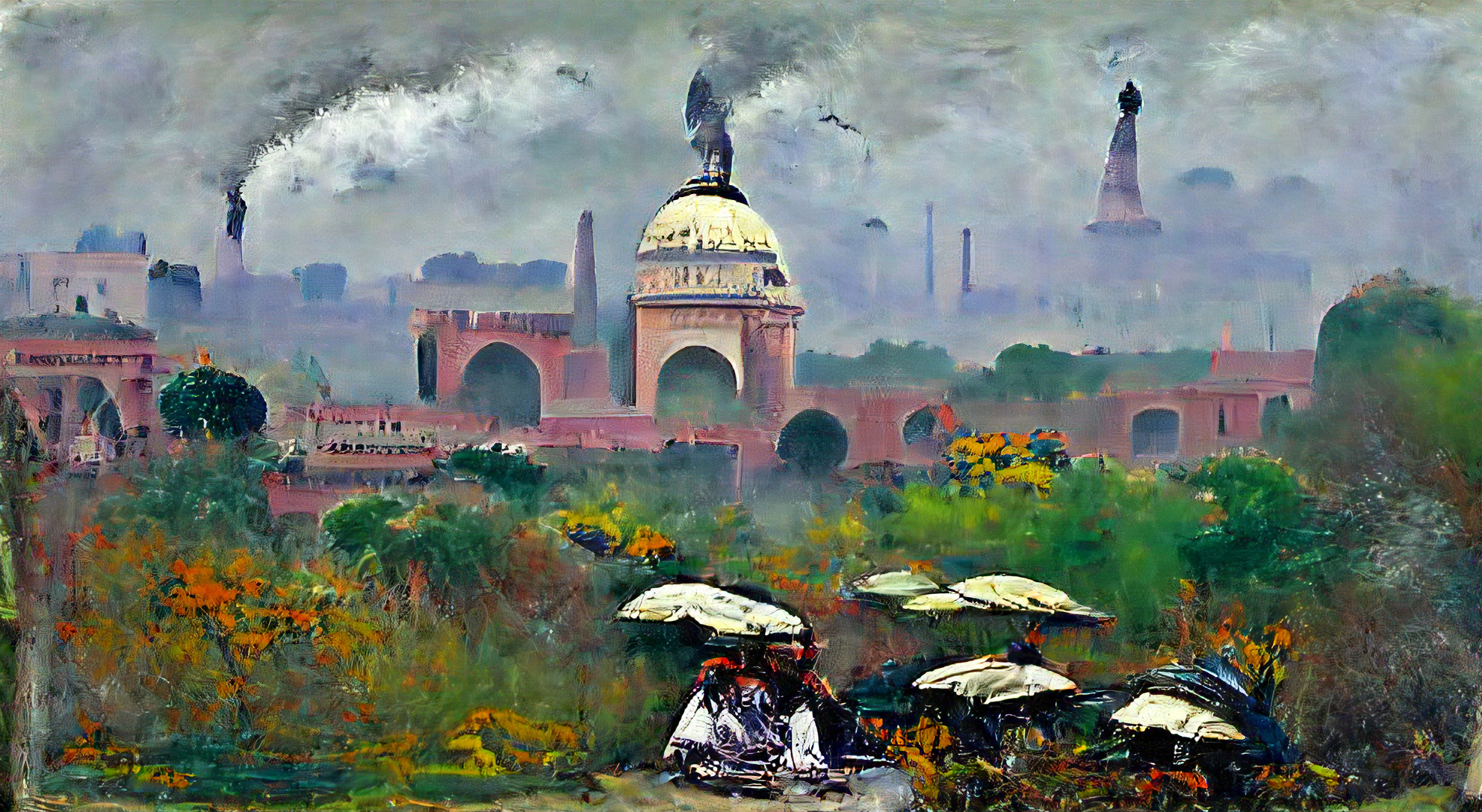 Delhi India on a cloudy day by Claude Monet