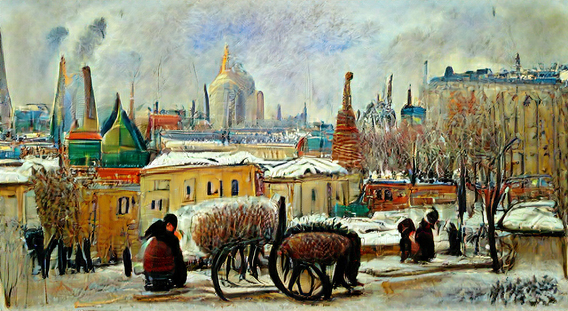 Moscow Russia on a cold winter day by Camille Pissarro