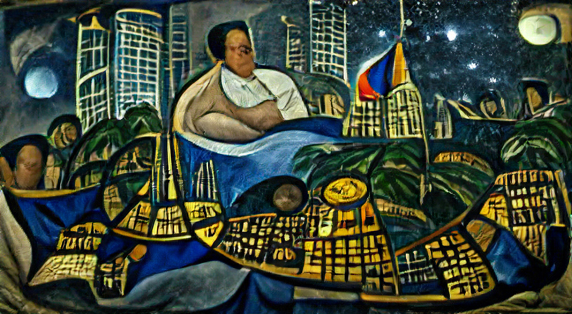 Manila Philippines on a starry night by Diego Rivera