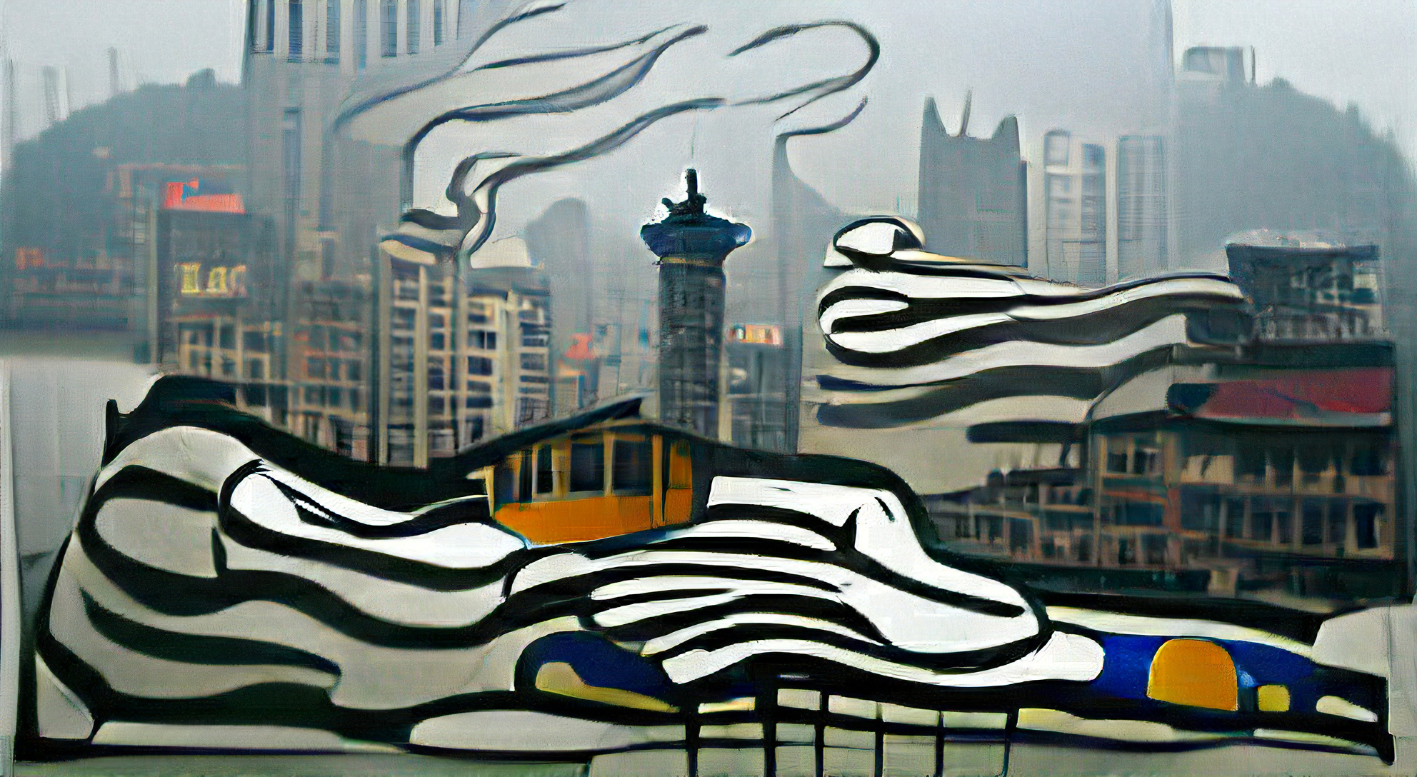 Chongqing China in early morning fog by Roy Lichtenstein